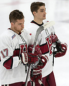 Sean Malone (Harvard - 17), Devin Tringale (Harvard - 22) - The Harvard University Crimson defeated the St. Lawrence University Saints 6-3 (EN) to clinch the ECAC playoffs first seed and a share in the regular season championship on senior night, Saturday, February 25, 2017, at Bright-Landry Hockey Center in Boston, Massachusetts.