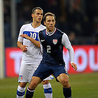 Sebastian Giovinico (l, ITA), Steve Cherundolo  (r,USA), during the friendly match Italy against USA at the Stadium Luigi Ferraris at Genoa Italy on february the 29th, 2012.