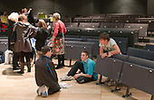 """A break in rehearsals.  Special Olympics Surrey put on a show,   """"Beyond the Stars"""", at the Rose Theatre, Kingston upon Thames to raise money for the  SOGB team.  The Special Olympics are for athletes with learning disabilities."""