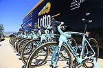 Team Lotto NL-Jumbo Bianchi Oltre X4s lined up outside the team bus at Arbatax before the start of Stage 3 of the 100th edition of the Giro d'Italia 2017, running 148km from Tortoli to Cagliari, Sardinia, Italy. 7th May 2017.<br /> Picture: Eoin Clarke | Cyclefile<br /> <br /> <br /> All photos usage must carry mandatory copyright credit (&copy; Cyclefile | Eoin Clarke)