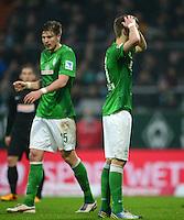 FUSSBALL   1. BUNDESLIGA   SAISON 2012/2013    22. SPIELTAG SV Werder Bremen - SC Freiburg                                16.02.2013 Sebastian Proedl und Nils Petersen (v.l., beide SV Werder Bremen) sind enttaeuscht