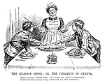 """The Silesian Goose; or, the Judgment of Geneva. League of Nations. """"There now; I've given you each a fair share."""" Germany and Poland (together, bitterly). """"He's got all the stuffing!"""""""