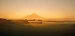 Golden light on Mount Taranaki. Taranaki Region New Zealand.