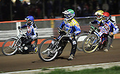 Heat 13 - Joonas Kylmakorpi (blue), Nicki Pedersen (green), Mikael Max, Adam Shields - Arena Essex Hammers vs Eastbourne Eagles - Sky Sports Elite League 'B' - 04/10/2006 - MANDATORY CREDIT: Gavin Ellis/TGSPHOTO