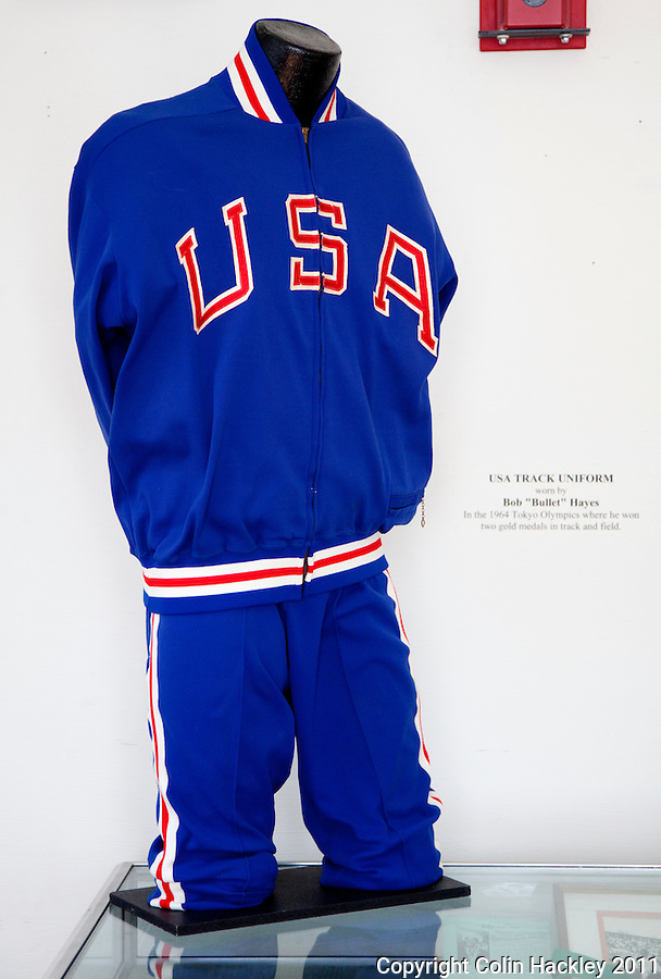 "BOB ""BULLET"" HAYES: The warm up suit worn by Bob ""Bullet"" Hays at the 1964 Olympics in Tokyo is part of a display in the room celebrating Florida A&M University athletes at The Black Archives in Tallahassee..COLIN HACKLEY PHOTO"