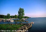 Boat leaving dock and cove at Pymatuning Reservoir (Lake), Pymatuning State Park, Crawford County, PA