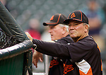 Baltimore Orioles manager Dave Trembley watches batting practice before their game against the Seattle Mariners' at SAFECO Field in Seattle April 19, 2010. The  Mariners beat the Orioles 8-2. Jim Bryant Photo. ©2010. ALL RIGHTS RESERVED.