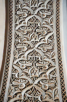 Berber Arabesque Morabe platerwork architectural details from the Petite Court, Bahia Palace, Marrakesh, Morroco
