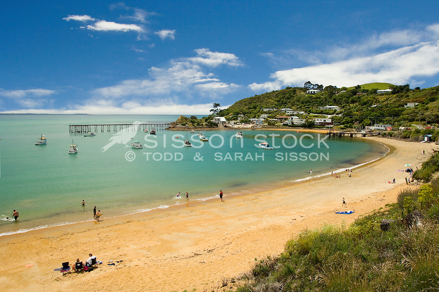 Looking across the bay and beach to Fleurs Place, Moeraki Village, Coastal Otago