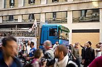 ITA: Il corteo davanti alla Banca d'Italia Roma 19 Ottobre 2013. Decine di migliaia di persone sono scese in piazza per protestare contro le misure di austerità e tagli di bilancio in Italia. (Foto di Adamo Di Loreto/BuenaVista*photo) ENG: People walk along the Banca d'Italia building during an anti-austerity protest on October 19, 2013 in Rome. Tens of thousands of people took to the streets to protest against the austerity measures and budget cuts in Italy. (Photo credit Adamo Di Loreto/BuenaVista*photo)