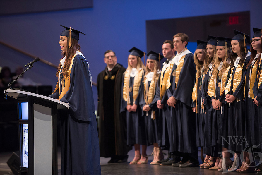 NWA Democrat-Gazette/J.T. WAMPLER Kaitlyn Ragsdale speaks Thursday May 19, 2016 representing the Shiloh Christian High School's distinguished honors graduates. The school graduated 90 seniors, the largest graduating class in the school's history. Almost all the graduates plan to continue their education and 92% have been offered college scholarships for a combined total of 7.7 million dollars.