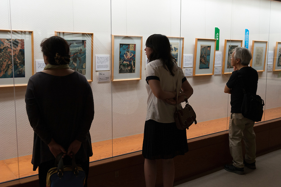 "An exhibition on woodblock prints of ""yokai"" monsters, Ota Memorial Museum of Art, Tokyo, Japan, July 15, 2014.Three exhibitions of woodblock prints of yokai monsters (spectres, ghosts, and sorcerers) were held at the museum in Harajuku, Tokyo during summer 2014."