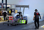 May 19, 2012; Topeka, KS, USA: NHRA top fuel dragster driver Hillary Will during qualifying for the Summer Nationals at Heartland Park Topeka. Mandatory Credit: Mark J. Rebilas-