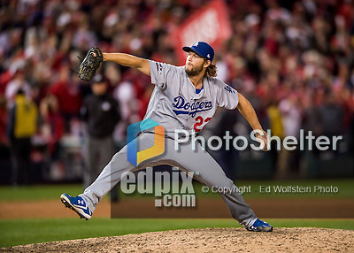 14 October 2016: Los Angeles Dodgers pitcher Clayton Kershaw closes out the NLDS Game 5 against the Washington Nationals at Nationals Park in Washington, DC. The Dodgers edged out the Nationals 4-3, to take Game 5, and the Series, 3 games to 2, moving on to the National League Championship against the Chicago Cubs. Mandatory Credit: Ed Wolfstein Photo *** RAW (NEF) Image File Available ***
