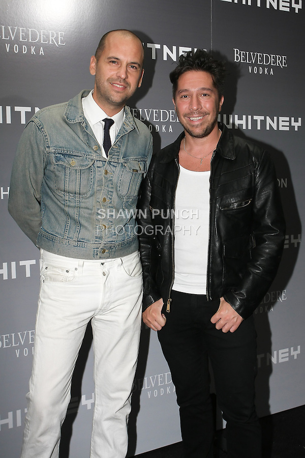 Claude Morais and Brian Wolk, designers of Ruffian clothing line, arrive at the 2011 Whitney Art Party: The Groundbreakers, at Highline Stages, May 24, 2011.
