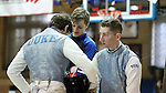 11 February 2017: Duke's Jan Maceczek (right) and Eoin Gronningsater (center) talk with Jonathan Schwartzman (left) during a break between Foil matches. The Duke University Blue Devils hosted the Massachusetts Institute of Technology Engineers at Card Gym in Durham, North Carolina in a 2017 College Men's Fencing match. Duke won the dual match 19-8 overall, 7-2 Foil, 6-3 Epee, and 6-3 Saber.