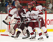Kyle Baun (Colgate - 12), Kyle Criscuolo (Harvard - 11) - The Harvard University Crimson defeated the Colgate University Raiders 4-1 (EN) on Friday, February 15, 2013, at the Bright Hockey Center in Cambridge, Massachusetts.