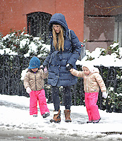 Sarah Jessica Parker's Twins, Tabitha & Marion, Catch Snowflakes  - New York