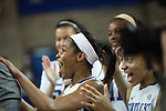 UK guard Bria Goss reacts after learning UK head coach Matthew Mitchell is the winningest coach in UK history after the UK Hoops vs. Tennessee at Memorial Coliseum in Lexington, Ky., on Sunday, March 3, 2013. Photo by Emily Wuetcher | Staff....