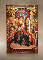 Gothic Altarpiece of the Madonna Nursing or Madonna Lactans, by Ramon de Mur, active around Tarrega and Montblanc circa 1412-1435, tempera and gold leaf on for wood, from the parish church of Santa Maria de Cervera (Segarra),  National Museum of Catalan Art, Barcelona, Spain, inv no: MNAC  15818. Against a art background.