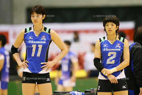 (L to R) <br /> Maiko Kano, <br /> Chizuru Koto (Springs), <br /> DECEMBER 13, 2013 - Volleyball : <br /> 2013 Emperor's Cup and Empress's Cup <br /> All Japan Volleyball Championship women's match <br /> between Hisamitsu Springs 3-1 Hitachi Rivale <br /> at Tokyo Metropolitan Gymnasium, Tokyo, Japan. <br /> (Photo by YUTAKA/AFLO SPORT)