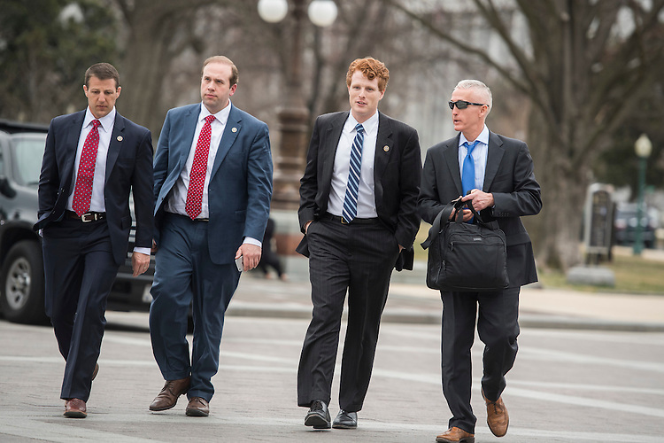 UNITED STATES - FEBRUARY 28: From left, Reps. Markwayne Mullin, R-Okla., Jason Smith, R-Mo., Joe Kennedy, D-Mass., and Trey Gowdy, R-S.C., make their way to a vote in the Capitol before President Donald Trump addressed a joint session of Congress, February 28, 2017. (Photo By Tom Williams/CQ Roll Call)