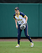 Michigan Wolverines outfielder Nicole Sappingfield (15) during warmups before the season opener against the Florida Gators on February 8, 2014 at the USF Softball Stadium in Tampa, Florida.  Florida defeated Michigan 9-4 in extra innings.  (Copyright Mike Janes Photography)