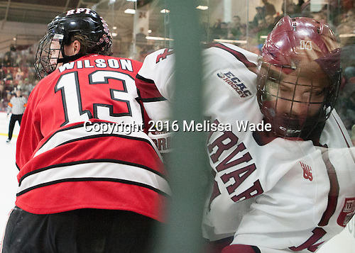 Jared Wilson (RPI - 13), Alexander Kerfoot (Harvard - 14) - The Harvard University Crimson defeated the visiting Rensselaer Polytechnic Institute Engineers 5-2 in game 1 of their ECAC quarterfinal series on Friday, March 11, 2016, at Bright-Landry Hockey Center in Boston, Massachusetts.