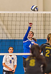 18 October 2015: Yeshiva University Maccabee Outside Hitter, Setter and team co-Captain Shana Wolfstein, a Senior from Burlington, VT, jumps for a hit during game action against the College of Mount Saint Vincent Dolphins at the Peter Sharp Center, in Riverdale, NY. The Dolphins defeated the Maccabees 3-0 in the NCAA Division III Women's Volleyball Skyline matchup. Mandatory Credit: Ed Wolfstein Photo *** RAW (NEF) Image File Available ***