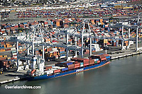 aerial photograph Fesco container ship being loaded at Port of Oakland, California