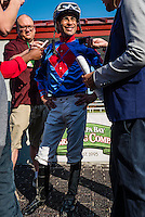 OLDSMAR, FL - JANUARY 21: Daniel Centeno, being interviewed after winning the Wayward Lass Stakes, on Skyway Festival Day at Tampa Bay Downs on January 21, 2017 in Oldsmar, Florida. (Photo by Douglas DeFelice/Eclipse Sportswire/Getty Images)