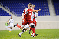 Chase Rodgers (12) of the Louisville Cardinals. The Louisville Cardinals defeated the Notre Dame Fighting Irish 1-0 during the semi-finals of the Big East Men's Soccer Championship at Red Bull Arena in Harrison, NJ, on November 12, 2010.