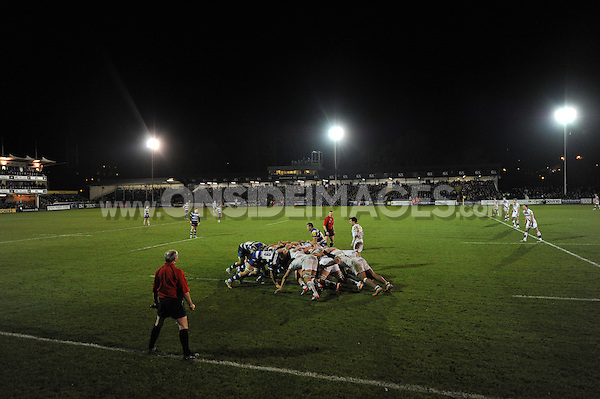 A scrum forms. Aviva A-League semi-final, between Bath United and Sale Jets on November 25, 2013 at the Recreation Ground in Bath, England. Photo by: Patrick Khachfe / Onside Images
