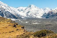 Views towards De la Beche 2950m in background from near Ball Shelter and Tasman Glacier on right, Mt. Cook National Park, World Heritage, Mackenzie Country, South Island, New Zealand