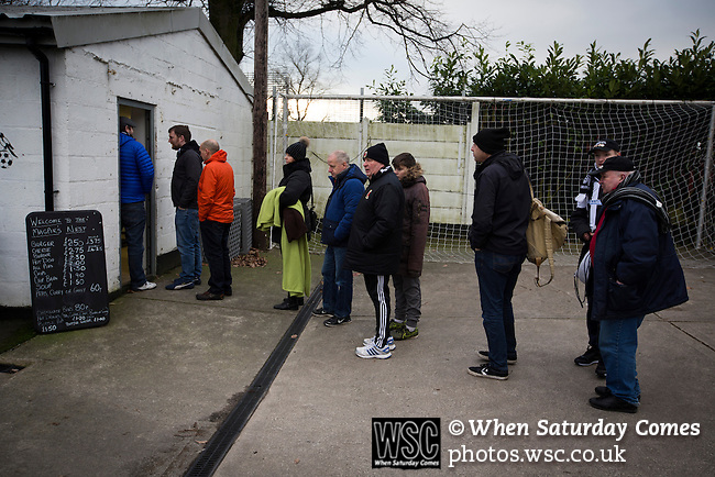 Chorley 2 Altrincham 0, 21/01/2017. Victory Park, National League North. Spectators queueing for refreshments at a snack bar at Victory Park, before Chorley played Altrincham in a Vanarama National League North fixture. Chorley were founded in 1883 and moved into their present ground in 1920. The match was won by the home team by 2-0, watched by an above-average attendance of 1127. Photo by Colin McPherson.