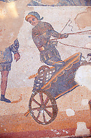 Close up of a chariot racer at the Circus Maximus Chariot racing at the Circus Maximus from the Palaestra room no 15.. Roman mosaics at the Villa Romana del Casale which containis the richest, largest and most complex collection of Roman mosaics in the world. Constructed  in the first quarter of the 4th century AD. Sicily, Italy. A UNESCO World Heritage Site.
