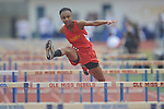 Lafayette High's Alisha Hickinbottom hurdles during the Oxford Eagle Invitational track meet at Oxford High School in Oxford, Miss. on Saturday, March 9, 2013.