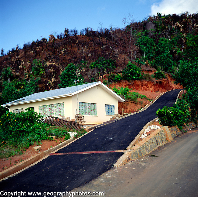 Population pressure leading to deforestation and building for Building a house on a slope