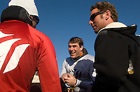 Grant Washburn, center, talks to Jamie Sterling, left after competing in the 2008 Mavericks Surf Contest in Half Moon Bay, Calif., Saturday, January 12, 2008...Photo by David Calvert/isiphotos.com