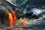 Lava flow enters ocean