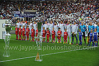 Cardiff City Stadium, Cardiff, South Wales - Tuesday 12th Aug 2014 - UEFA Super Cup Final - Real Madrid v Sevilla - <br /> <br /> The Real Madrid team line up. <br /> <br /> <br /> <br /> <br /> Photo by Jeff Thomas/Jeff Thomas Photography