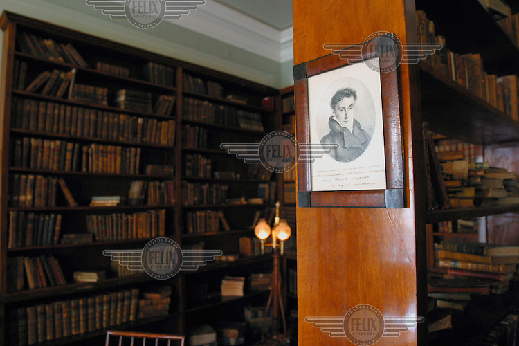 The study of writer Alexander Pushkin in his former home on the Moika Canal.