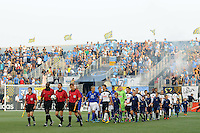 Everton FC and the Philadelphia Union take the field for introductions. The Philadelphia Union defeated Everton FC 1-0 during an international friendly at PPL Park in Chester, PA, on July 20, 2011.