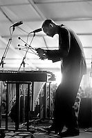 Jason Marsalis performing in the Jazz Tent on the WWOZ stage of the 2001 New Orleans Jazz & Heritage Festival in New Orleans, Louisiana. USA. A 20x24 inch print of this photo is in the permanent collection of the Ogden Museum of Southern Art in New Orleans. Camera: Leica R8 / Lens: 135mm f/2.8 Elmarit-R / Film: Illford HP5 400