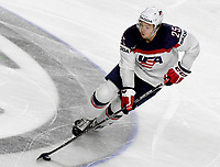 American Charlie McAvoy in action during tHe Ice Hockey World Championship quarter-final match between the US and Finland in the Lanxess Arena in Cologne, Germany, 18 May 2017. Photo: Monika Skolimowska/dpa /MediaPunch ***FOR USA ONLY***