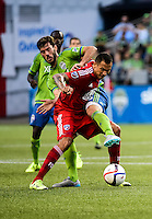 Seattle, Washington - June 13, 2015: Seattle Sounders FC host FC Dallas in MLS action on the Xbox Pitch at CenturyLink Field.
