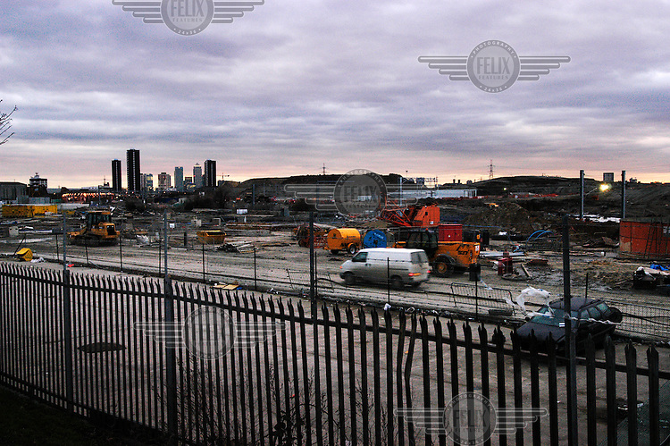Construction site in Stratford, with Canary Wharf and Docklands in the distance. London's 2012 Olympic Games bid is centred around this part of the East End, including this very site.