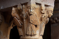 Carved capital depicting soldiers with spears, helmets and shields, from the old cloister, built under abbot Begon III in 1097-1107, in the Abbatiale Sainte-Foy de Conques or Abbey-church of Saint-Foy, Conques, Aveyron, Midi-Pyrenees, France, a Romanesque abbey church begun 1050 under abbot Odolric to house the remains of St Foy, a 4th century female martyr. The church is on the pilgrimage route to Santiago da Compostela, and is listed as a historic monument and a UNESCO World Heritage Site. Picture by Manuel Cohen