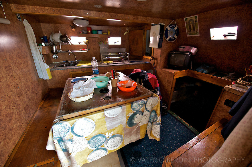The kitchen of the fishing boat.