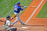14 September 2008: Kansas City Royals' infielder Mike Aviles lines a single in the 6th inning against the Cleveland Indians at Progressive Field in Cleveland, Ohio. The Royal defeated the Indians 13-3 to take the 4-game series three games to one...Mandatory Photo Credit: Ed Wolfstein Photo